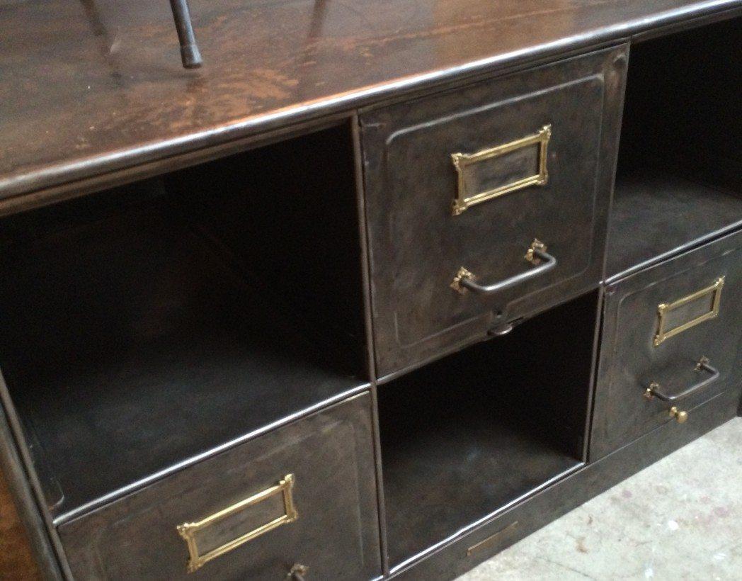 Casier tiroirs ancien usa 5 francs for L or du temps meuble industriel