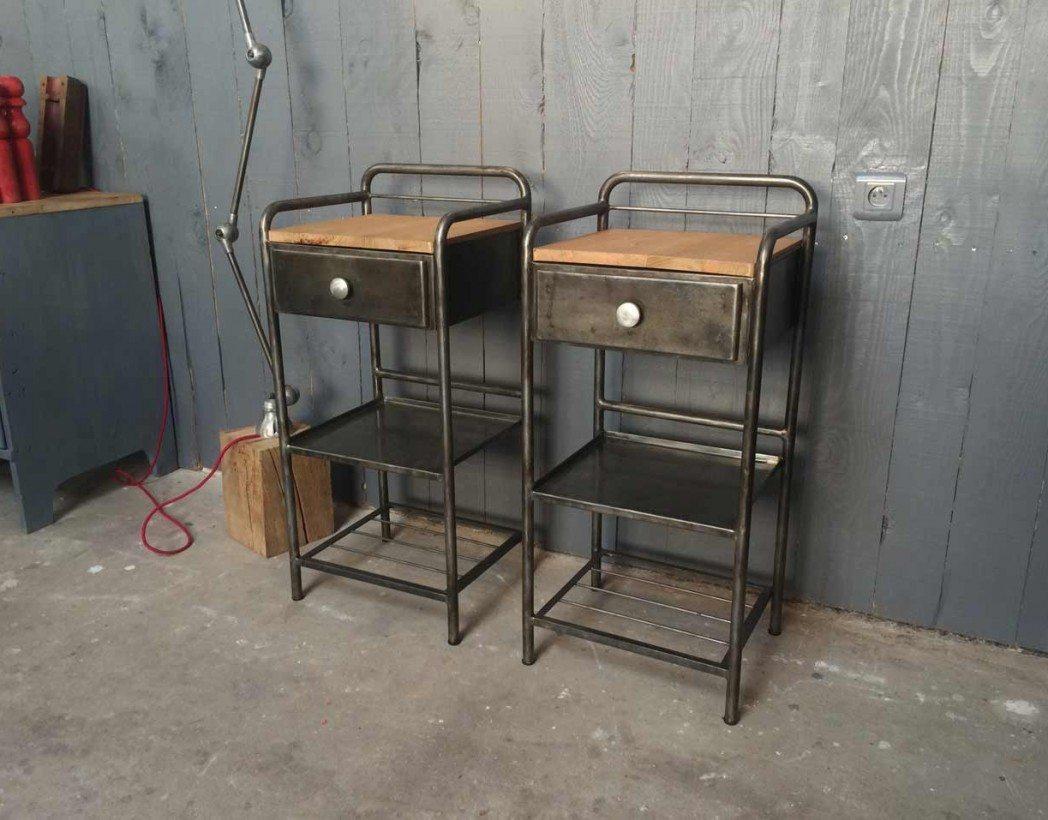 Table de nuit d 39 hopital ancienne for Table de nuit style industriel