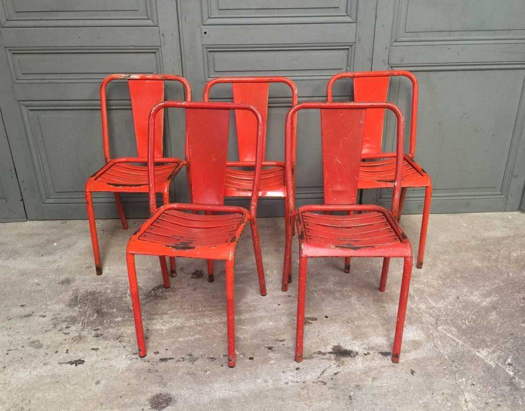 chaise de bistrot tolix t4 orange rouge. Black Bedroom Furniture Sets. Home Design Ideas