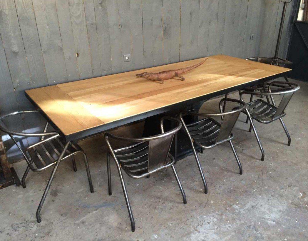 Table manger pied fonte - Table de salon industrielle ...