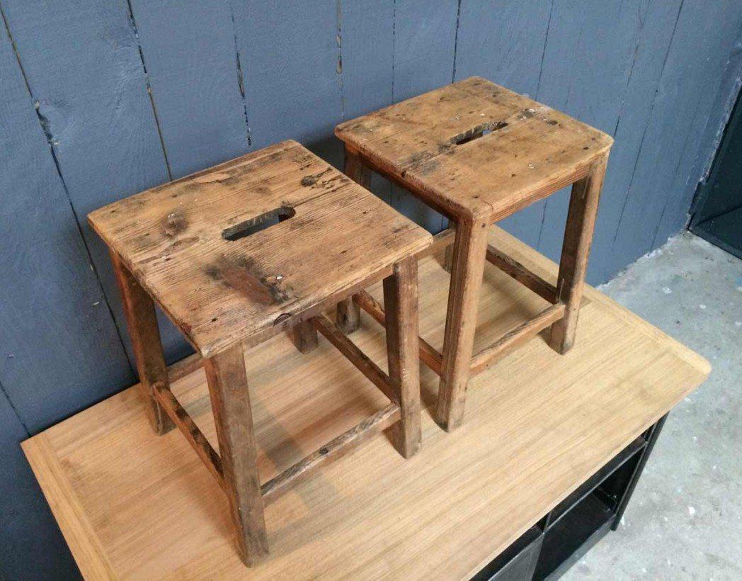 Tabouret d atelier ancien - Tabouret en bois reglable en hauteur ...