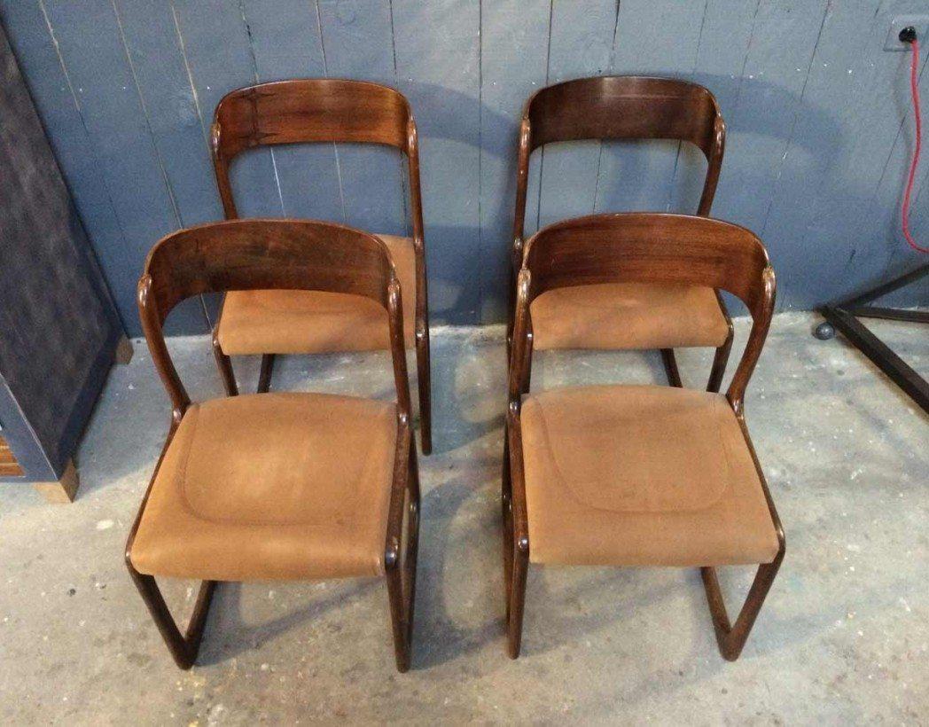 4 chaises baumann bois courb vintage for Chaise baumann