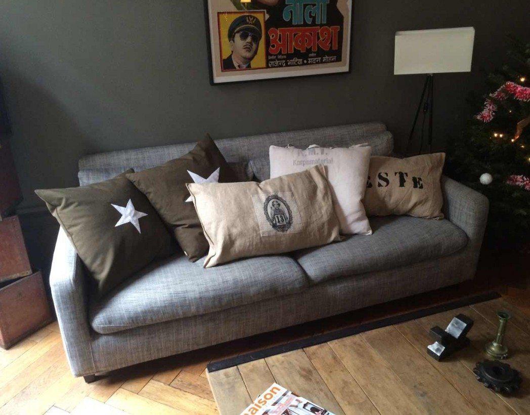 grand coussin en toile de jute. Black Bedroom Furniture Sets. Home Design Ideas