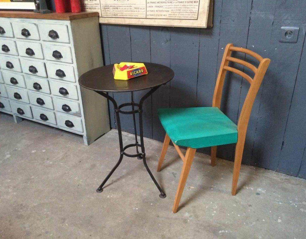 ancien gu ridon de jardin en m tal rivet. Black Bedroom Furniture Sets. Home Design Ideas