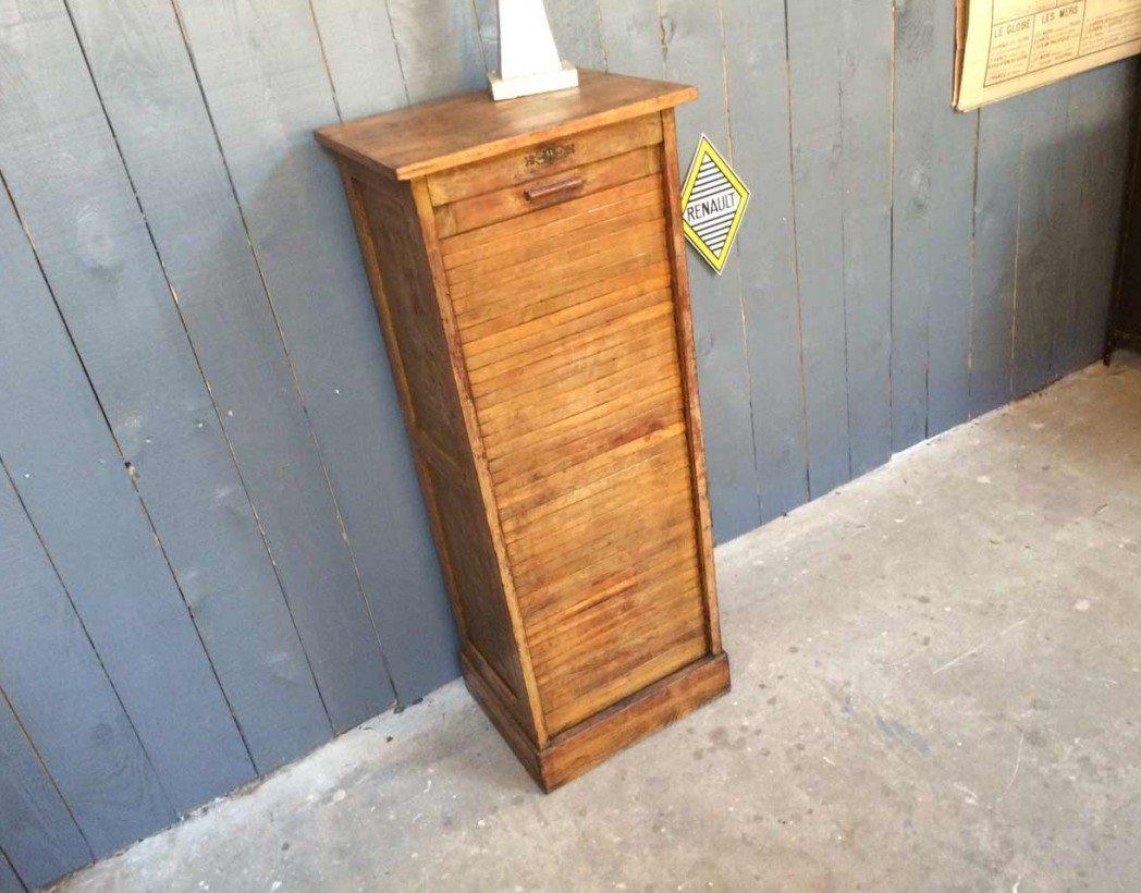 Ancien classeur rideau en bois for Meuble classeur rideau