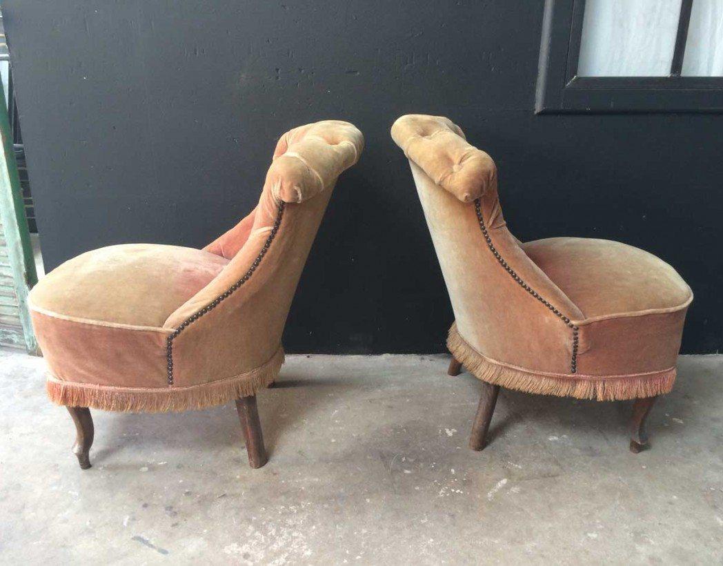 Paire De Fauteuils Crapauds époque Napoléon III Décoration Bohème Chic - Ancien fauteuil crapaud