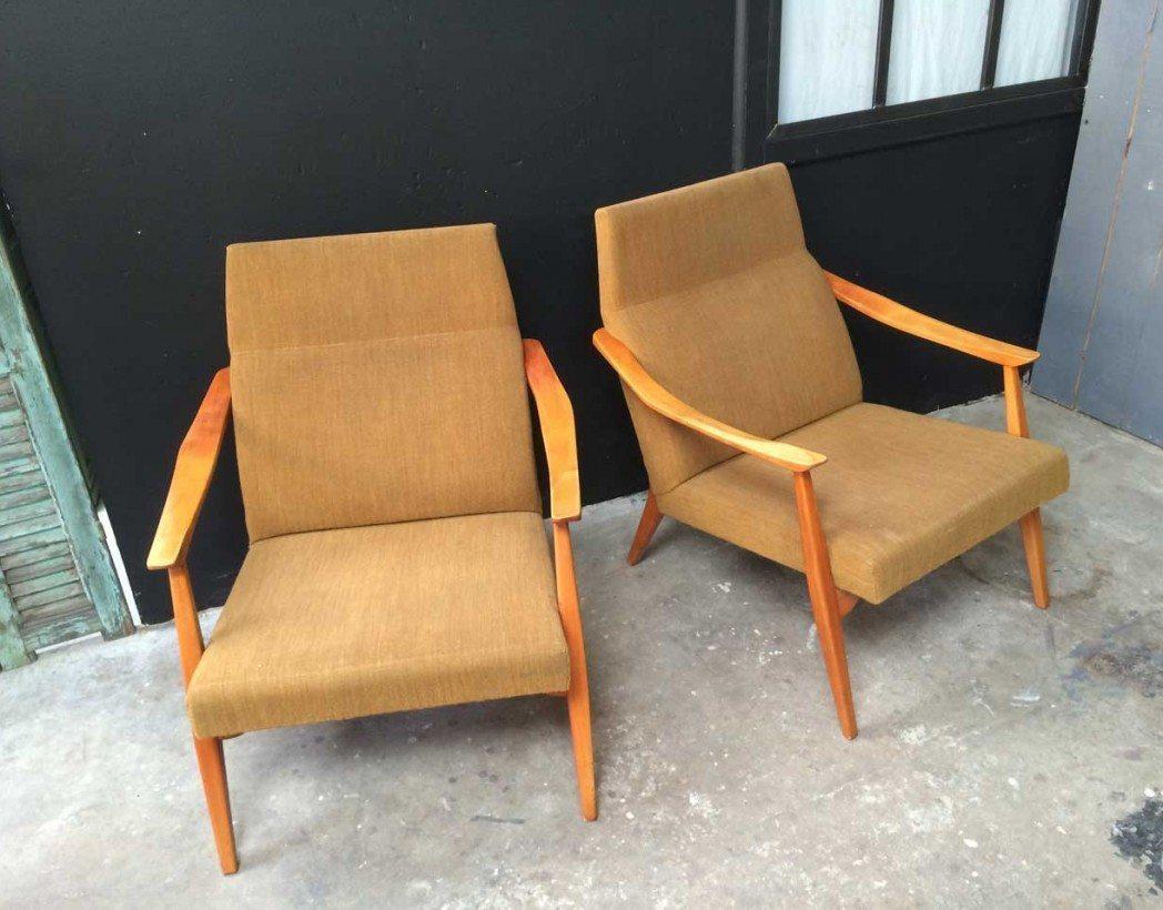 paire fauteuil scandinave vintage annee 60 5francs 2 - Fauteuil Scandinave Moutarde
