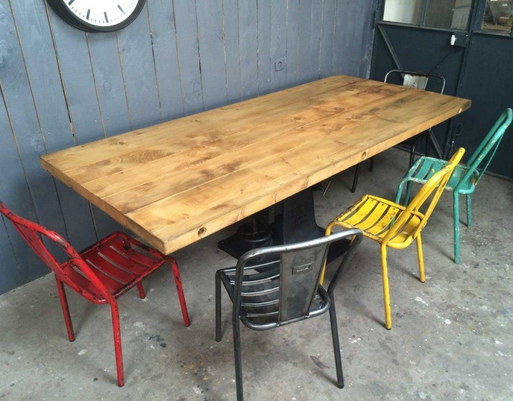 Table industrielle pied central en fonte - Pied central pour table ...
