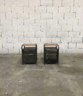 ancienne paire chevet metal dortoire hopital 5francs 1 172x198 - Paire tables de nuit de dortoir en métal et bois décapée brossée