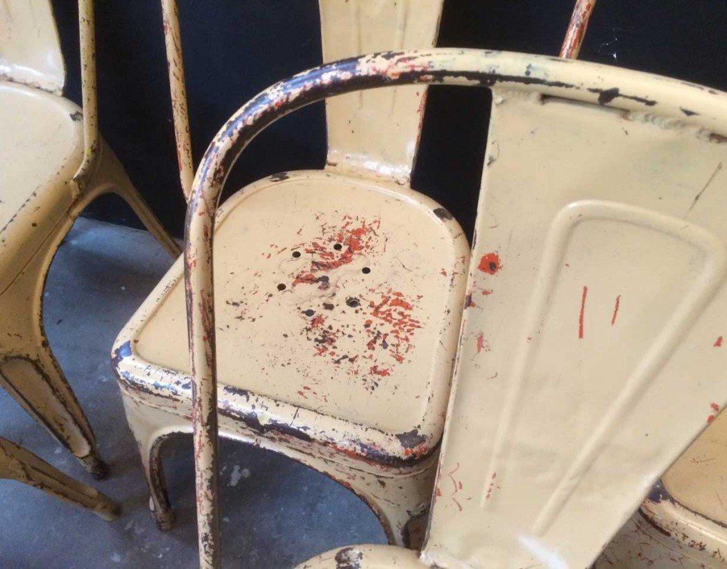 V ritable tolix mod le a beige - Chaise industrielle ancienne ...