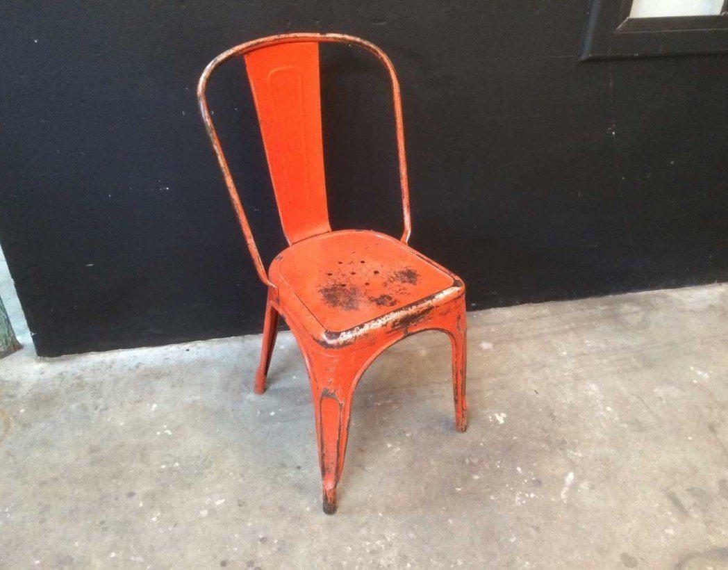 V ritable tolix mod le a rouge - Chaise industrielle ancienne ...