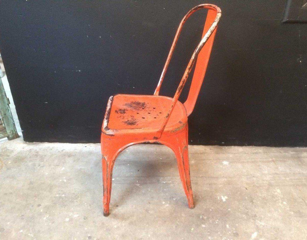 Chaise Tolix Model A Ancienne Rouge Industrielle 5francs