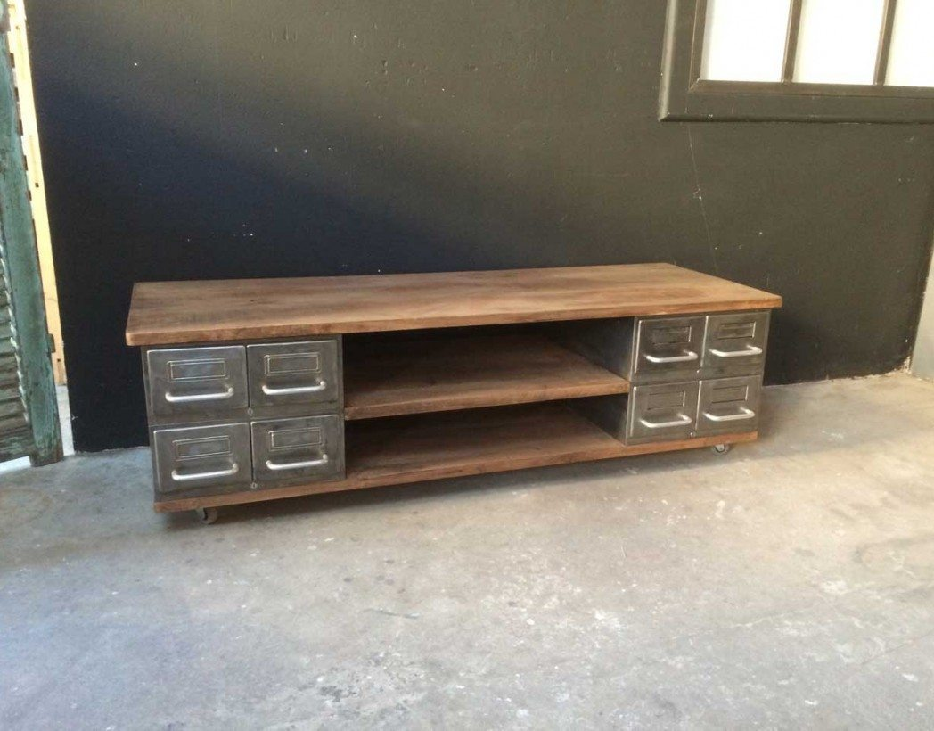 meuble tv style industriel cr ation 5francs meuble tv m tal et bois. Black Bedroom Furniture Sets. Home Design Ideas