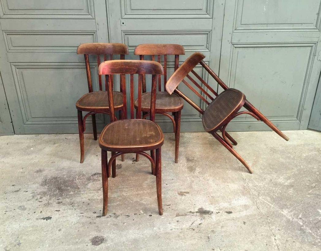 ensemble de 6 chaises bistrot baumann ann e 30. Black Bedroom Furniture Sets. Home Design Ideas
