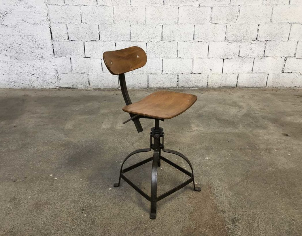 Authentique Chaise Datelier Bienaise Hauteur 65 Cm