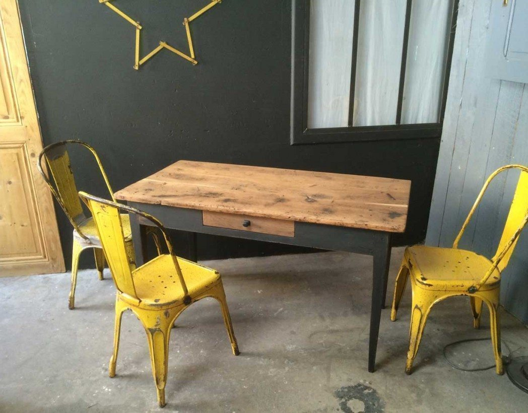 table bistrot ancienne des ann es 20 30 bois et m tal. Black Bedroom Furniture Sets. Home Design Ideas