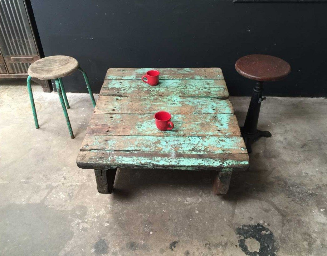 Ancienne palette table basse - Table basse palette industrielle vintage ...