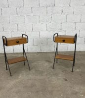 tables-de-nuit-jacques-hitier-vintage-bois-metal-structure-tubulaire-5francs-2