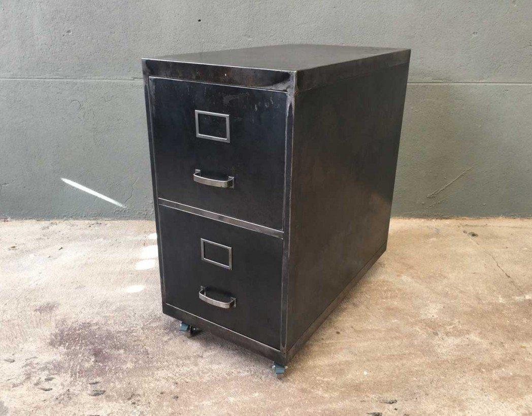 Caisson deux tiroirs industriel for Bureau 2 tiroirs