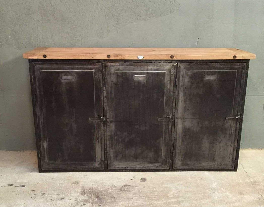 Buffet industriel for Buffet industriel bois metal