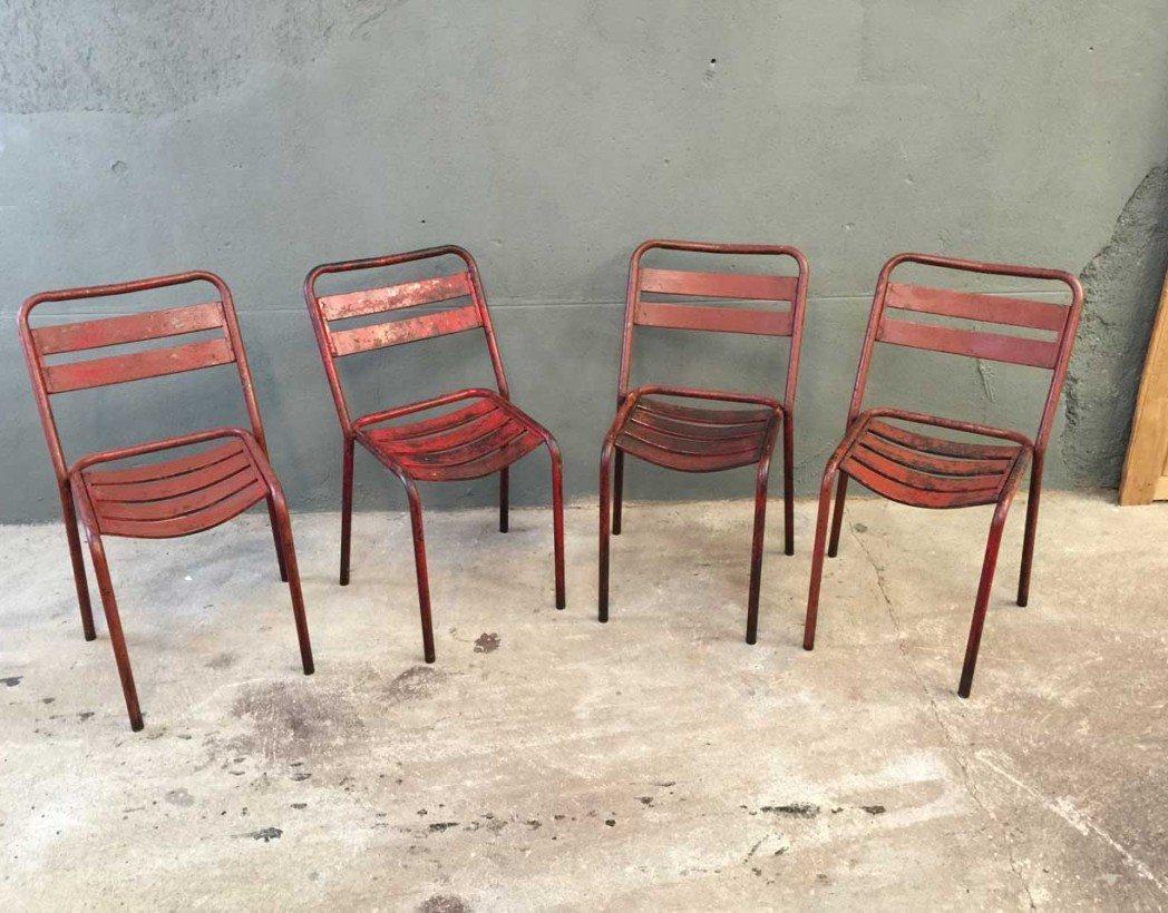 ensemble 4 chaises bistrot style tolix. Black Bedroom Furniture Sets. Home Design Ideas