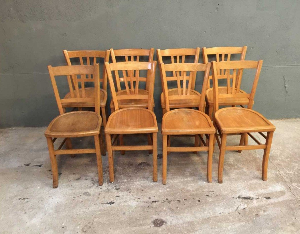 ensemble de 8 chaises bistrot style baumann. Black Bedroom Furniture Sets. Home Design Ideas