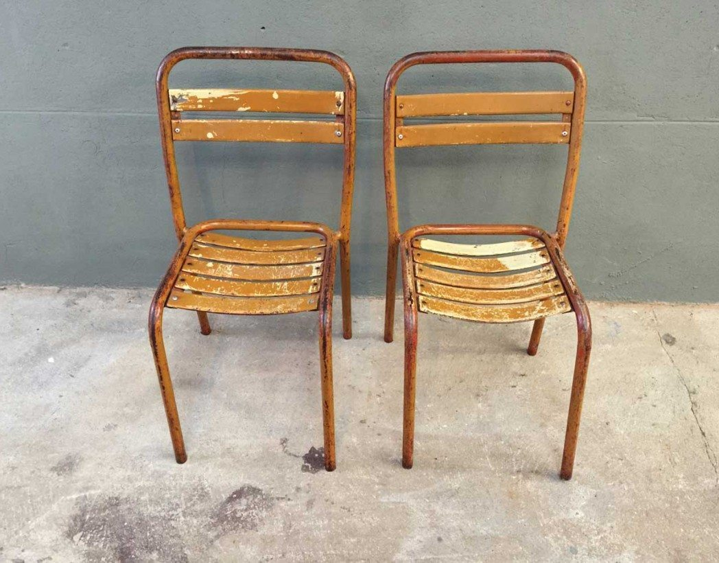 Paire Chaises Bistrot M Tal Style Tolix