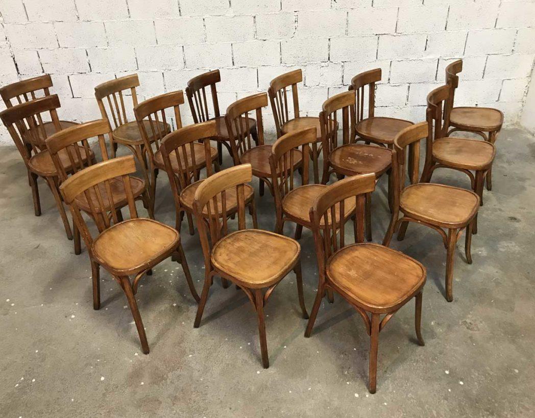 ensemble de 20 chaises bistrot baumann couleur miel. Black Bedroom Furniture Sets. Home Design Ideas