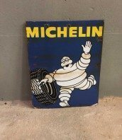 ancienne-plaque-michelin-emaillee-double-face-vintage-garage-5francs-1