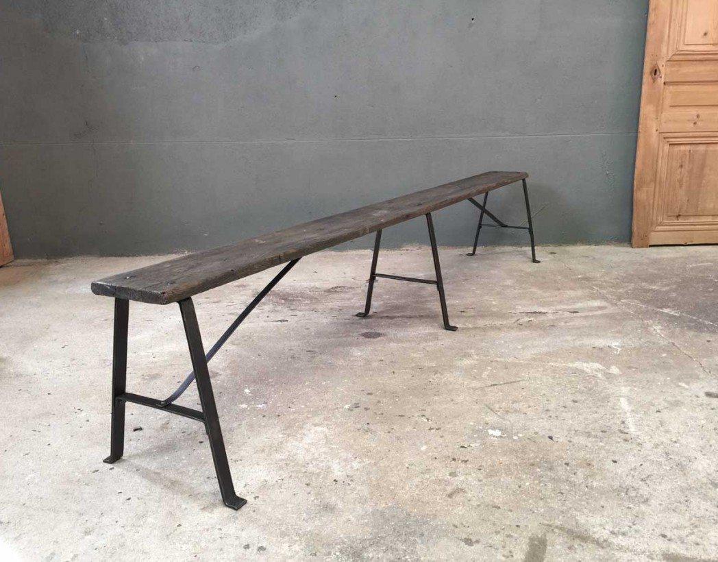 Ancien banc d 39 cole bois et m tal rivet for Banc avec 2 chaises