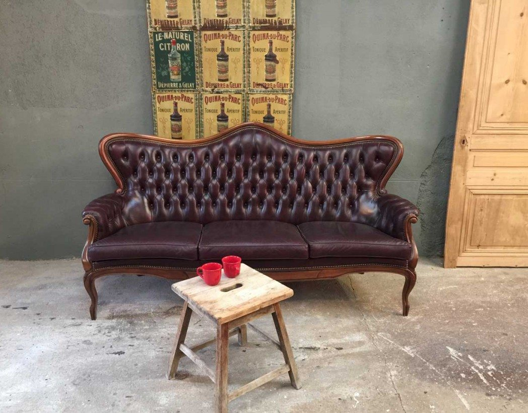 ancien canape chesterfield en cuir With canapé ancien cuir