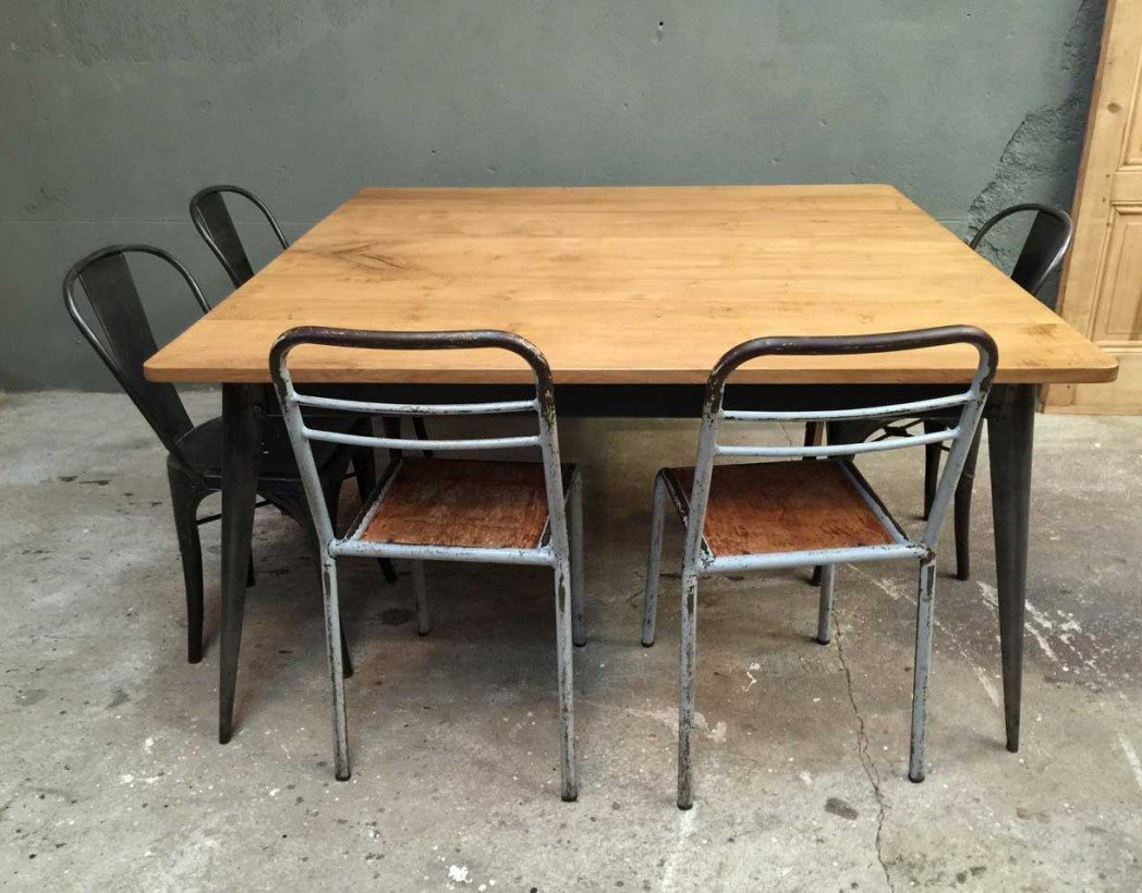 table-industrielle-caree-tolix-bois-metal-creation-5francs-5