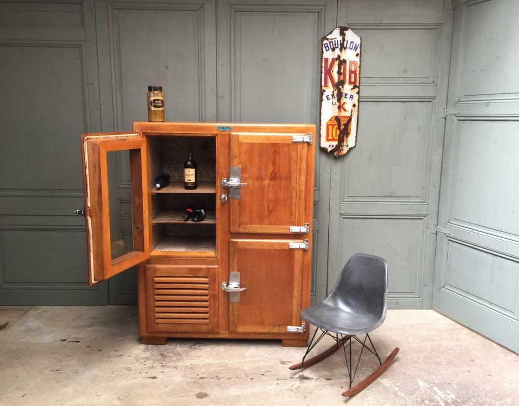 Ancien frigo cave vin - Meuble frigo ancien bois ...