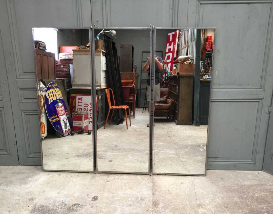 ancien miroir triptyque brot 1920. Black Bedroom Furniture Sets. Home Design Ideas