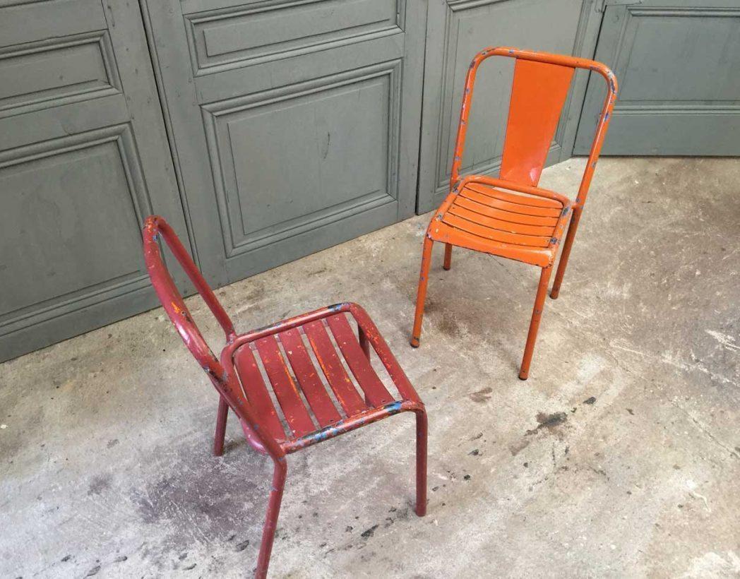 Ensemble 6 chaises tolix t4 orange et bordeaux for T4 bordeaux