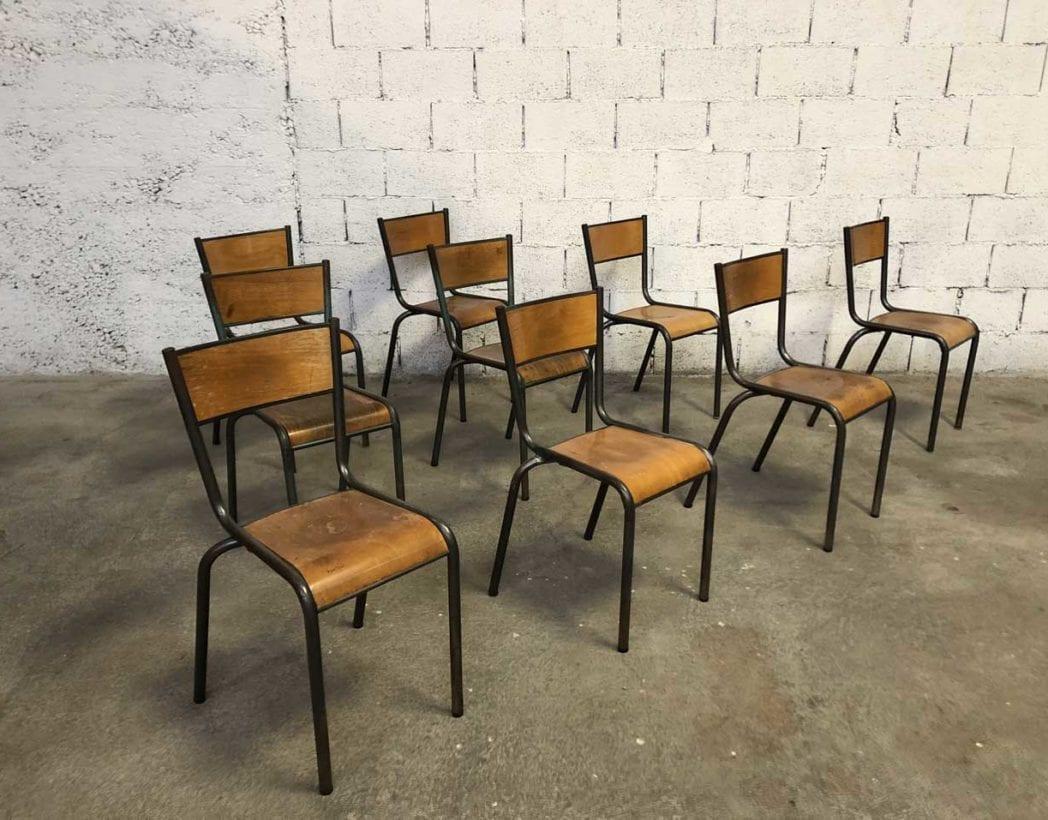 Chaise D École Mullca ensemble 52 chaises mullca modèle 510 patine gris