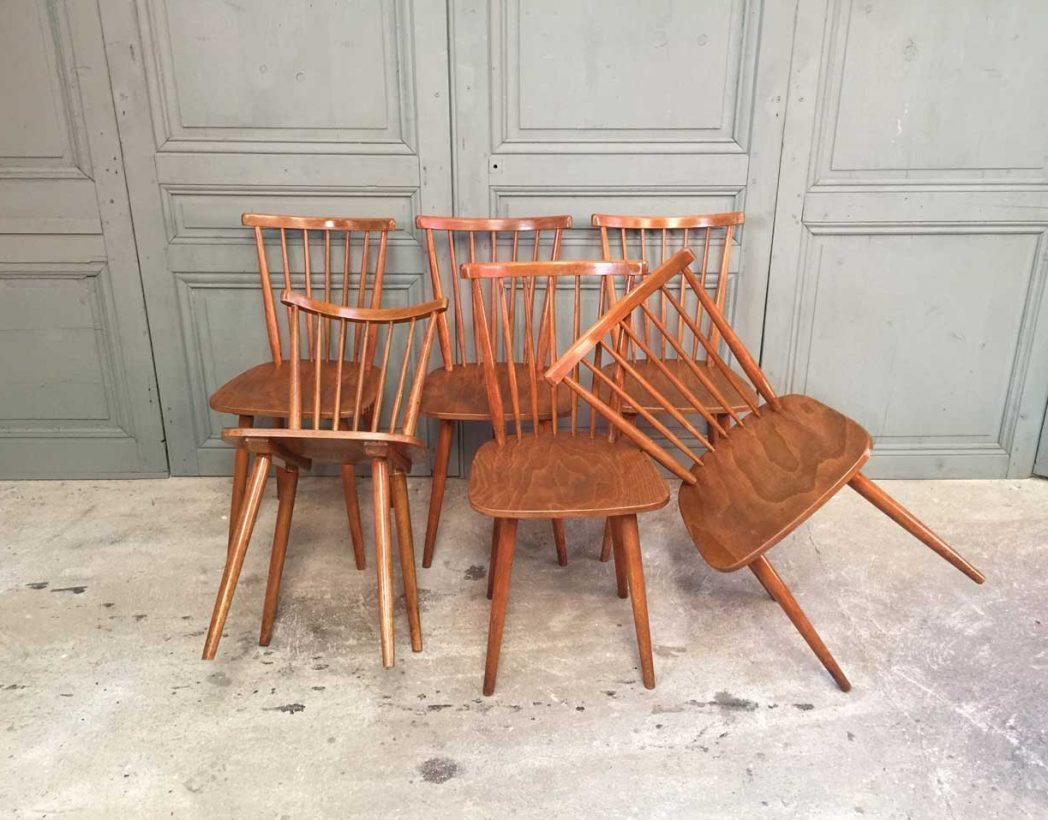 ensemble 6 chaises baumann style tapiovaraa. Black Bedroom Furniture Sets. Home Design Ideas
