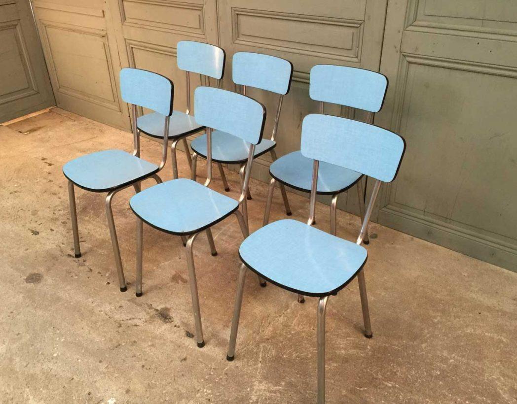 Ensemble de 6 chaises formica bleues for Chaise formica