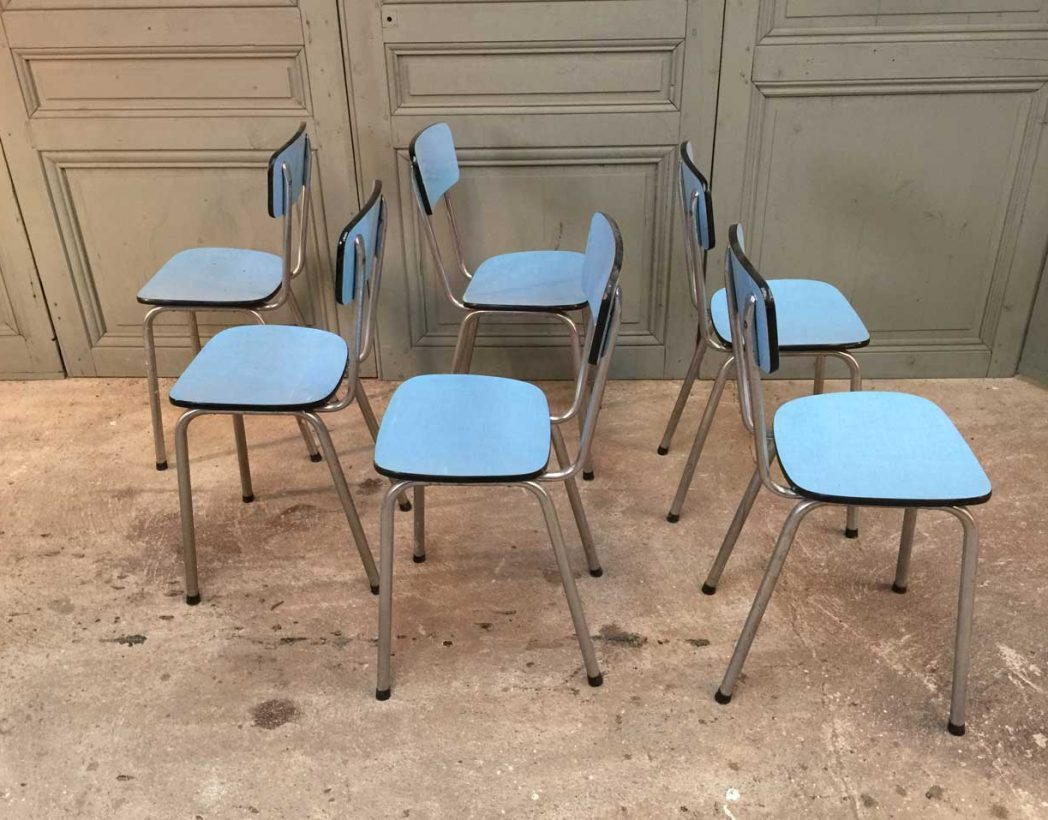 ensemble de 6 chaises formica bleues. Black Bedroom Furniture Sets. Home Design Ideas