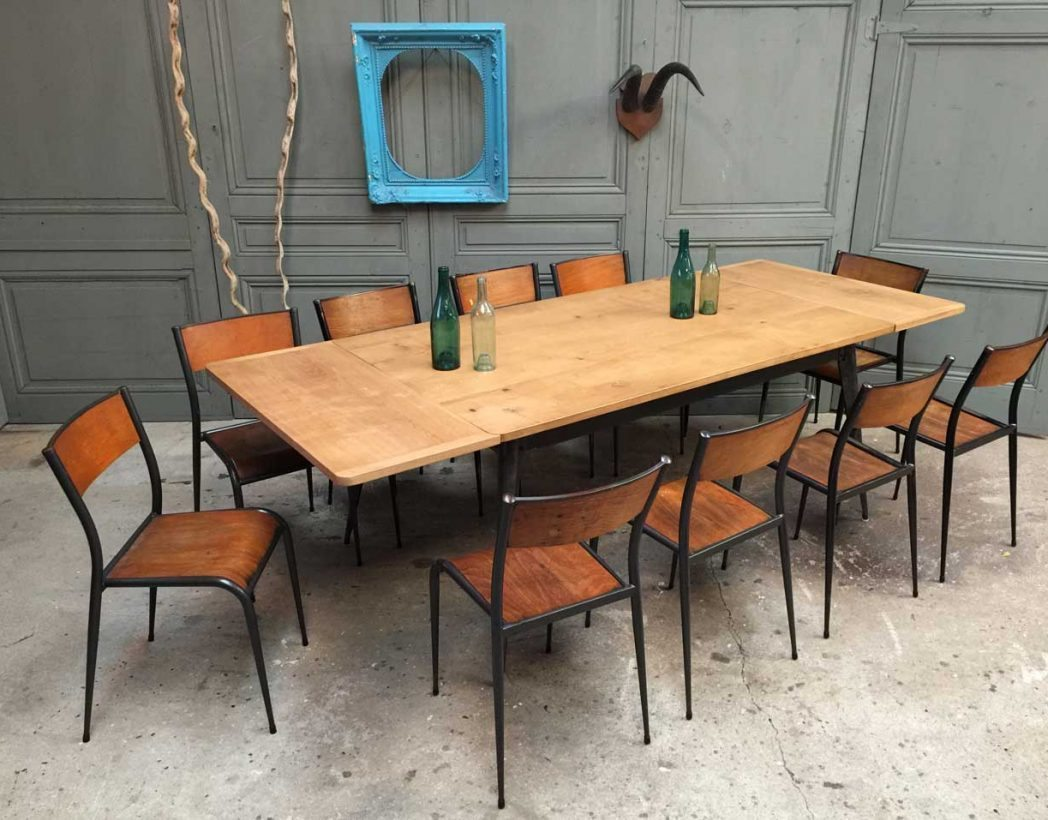 Grande table tolix cr ation avec rallonges for Table industrielle avec rallonge