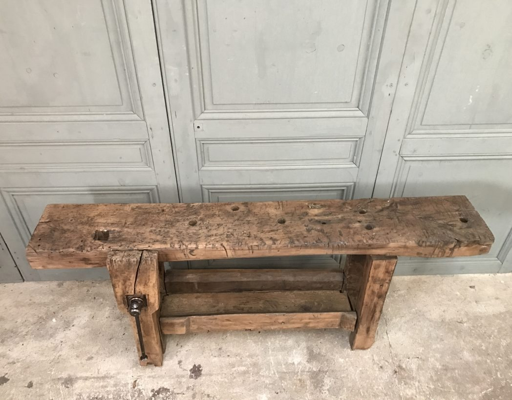 Ancien tabli de menuisier console - Etabli industriel ancien ...