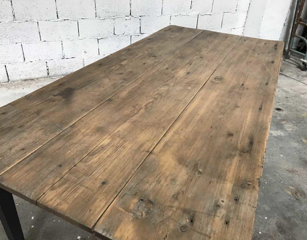 ancienne table de ferme en pin patine noire. Black Bedroom Furniture Sets. Home Design Ideas