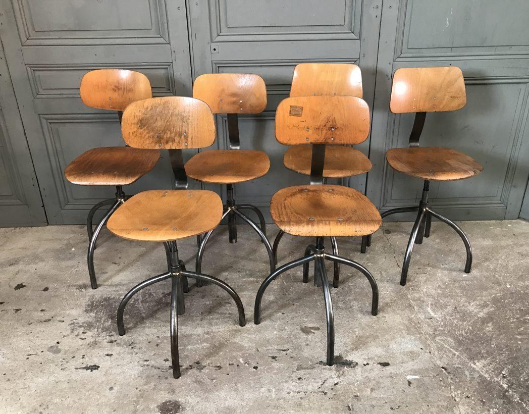 Ensemble Chaise Atelier Pivotante Industriel 5francs 2