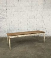 table ferme ancienne 220cm patine blanche 5francs 1 172x198 - Ancienne table de ferme en pin patine blanche 220 cm