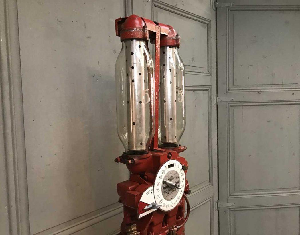 Ancienne pompe essence double globes satam for Pompe a essence deco