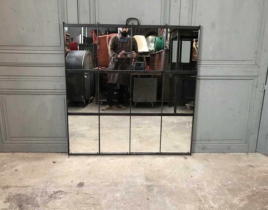 Ancienne verri re miroir rivet e - Miroir metal industriel ...