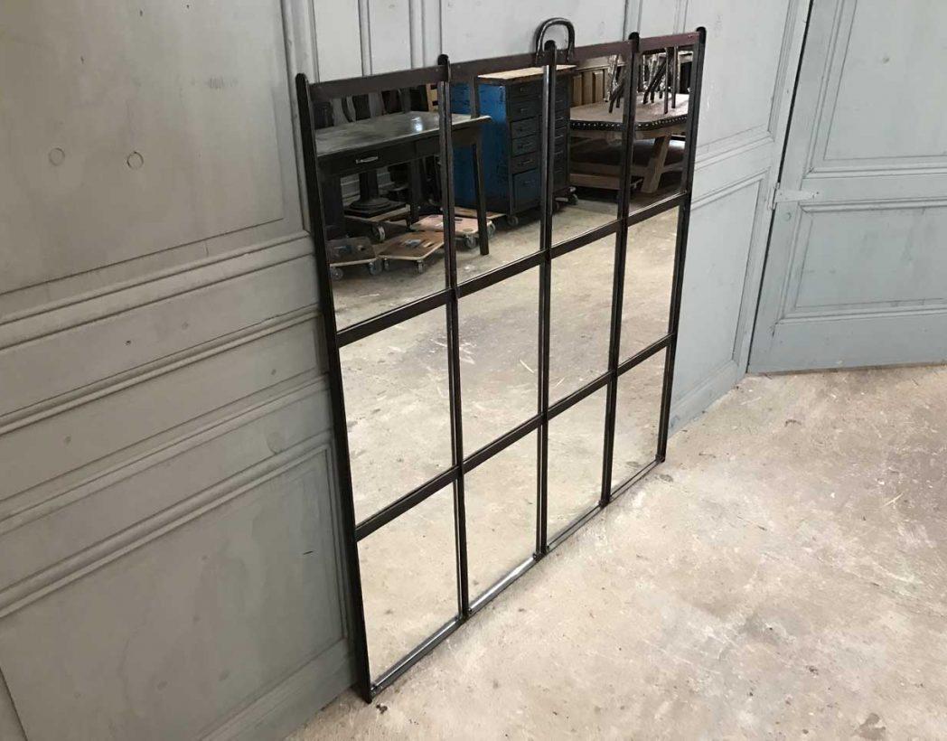 Ancienne verri re miroir rivet e for Miroir industriel deco