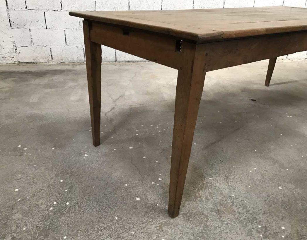 Ancienne table de ferme pieds fuseaux en chêne massif N°12