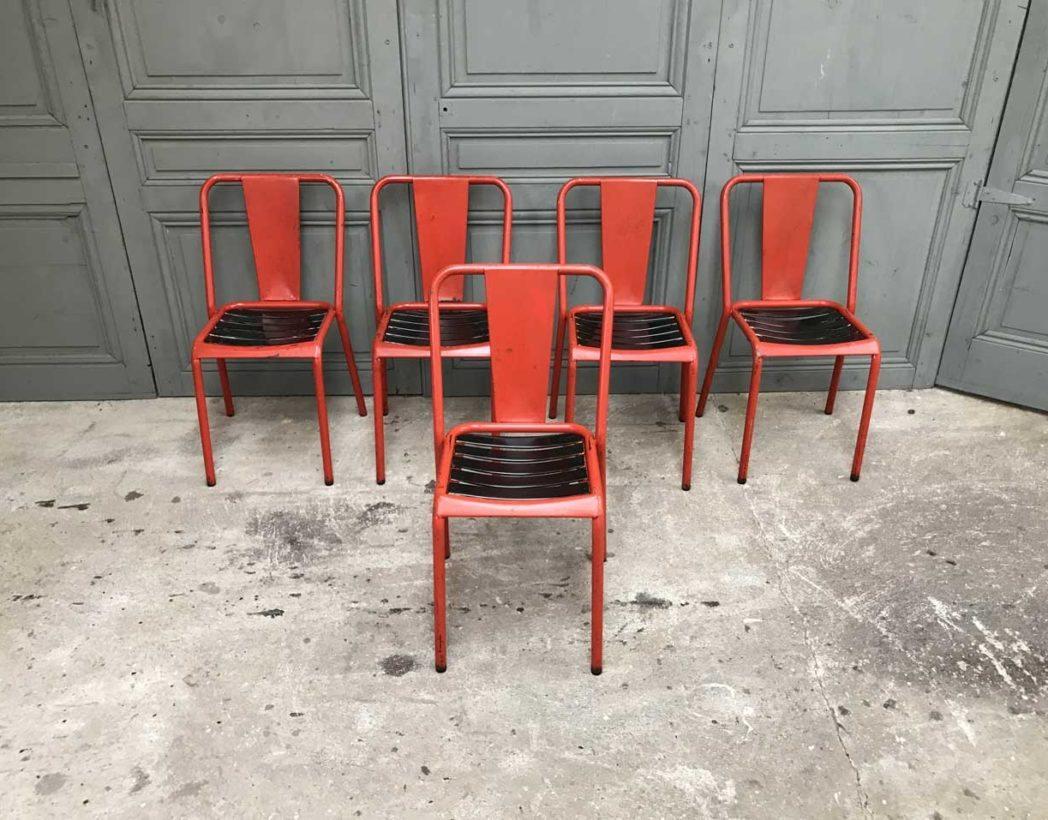 ensemble 6 chaises tolix t4 rouge vintage. Black Bedroom Furniture Sets. Home Design Ideas
