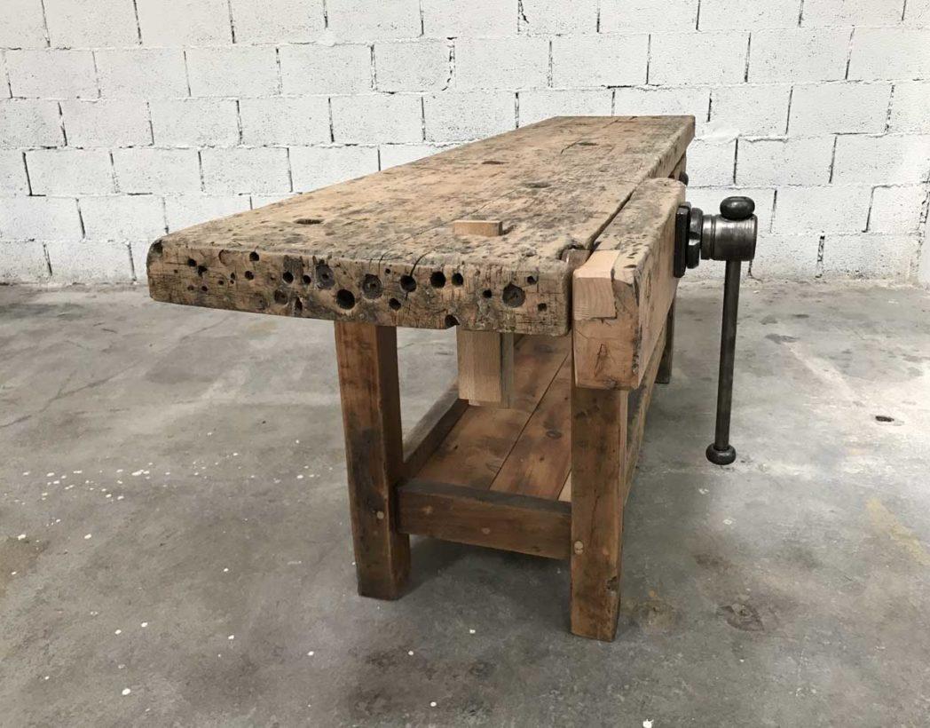 Ancien tabli de menuisier bois brut - Restaurer etabli menuisier ...